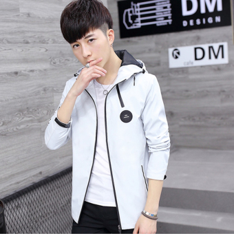 Jual Korea Fashion Style Pria Muda Slim Jaket Kasual Putih Di Online Store