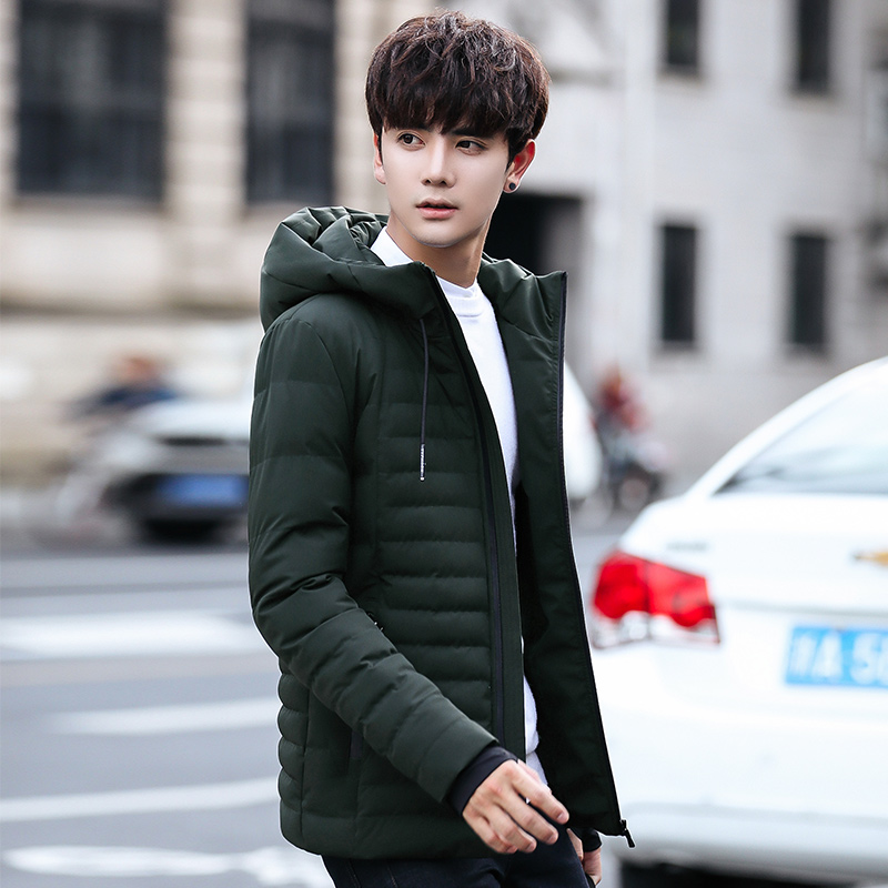 Korea Fashion Style pria musim dingin baru Slim empuk kapas Hijau .