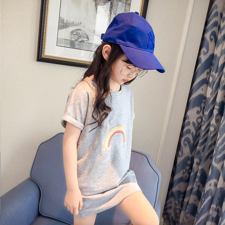 Korea Fashion Style putih musim panas gadis berpakaian anak-anak rok (Abu- abu