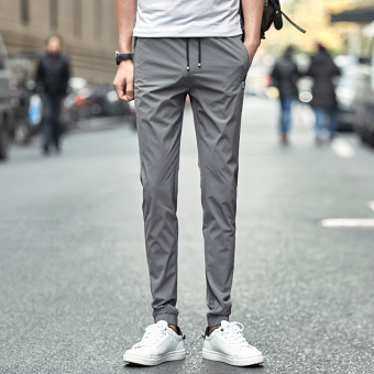 Jual Korea Fashion Style Remaja Slim Kaki Celana Pria Celana 801 Abu Abu Di
