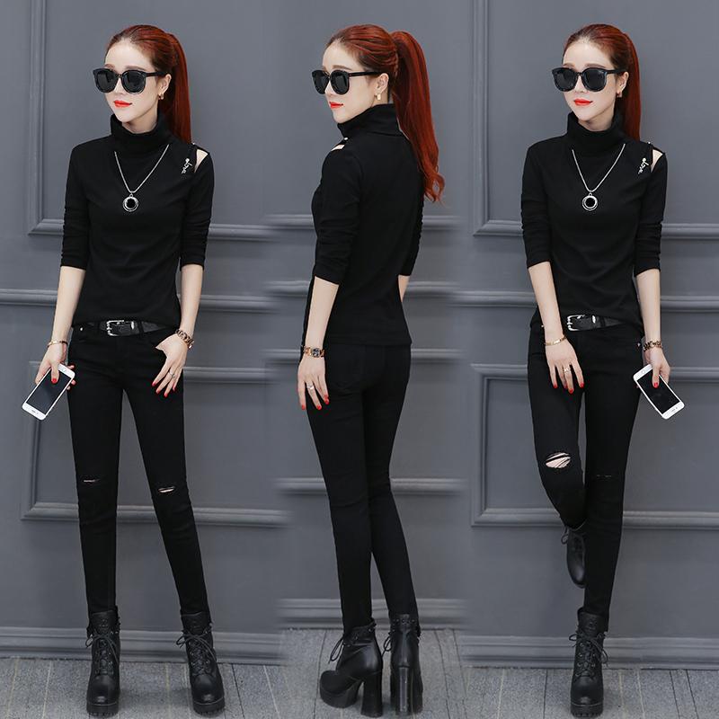 Flash Sale Korea Fashion Style strapless lengan panjang t-shirt Slim kemeja kerah tinggi (Hitam)