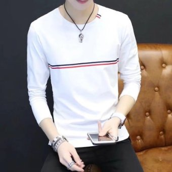 Korea Fashion Style Tambah Beludru Pria Leher Bulat Kaos Sweater Musim Gugur Lengan Panjang T-shirt (Depan Dada Bergaris Putih Lengan Panjang)