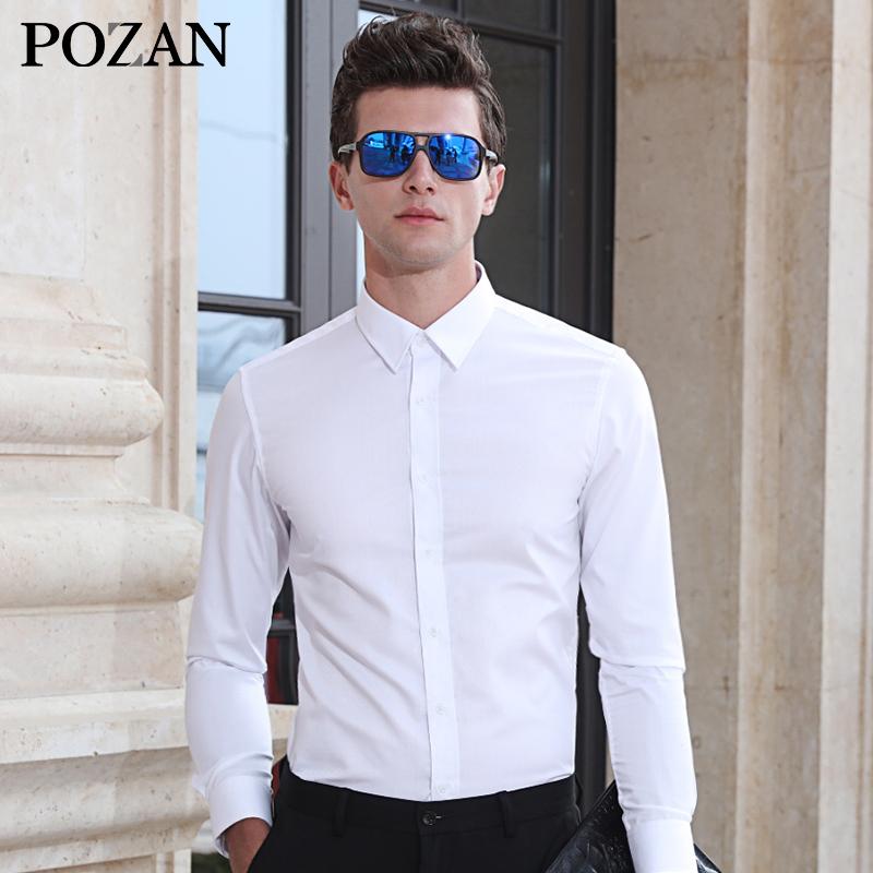 Korea Fashion Style Tambah Beludru Warna Solid Slim Kemeja Putih Pria Lengan Panjang Kemeja (Putih