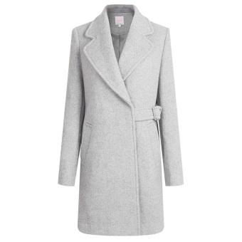 Korea Fashion Style Warna Solid Musim Gugur Dan Dingin Baru Wol Jaket Parka Wol Wol Jas (Abu-abu)
