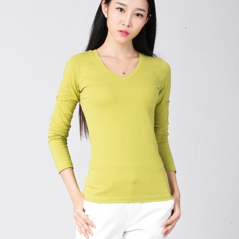 Flash Sale Korea Fashion Style warna solid perempuan lengan panjang dalam perjalanan musim semi dan musim gugur t-shirt (Mustard hijau v-neck)