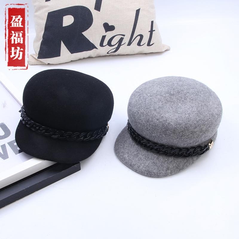 Korea Fashion Style wol segi delapan topi topi topi berkuda (Hitam)