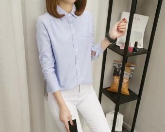 Gambar Korea kapas perempuan lengan panjang karir musim panas kerah overall kemeja putih (Biru)