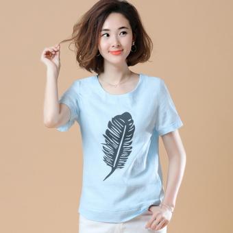 Korea longgar lengan pendek katun dicetak leher bulat t-shirt (Bulu bagian biru muda