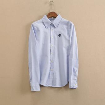 Korean-style cotton Spring and Autumn New style shirt (Cahaya biru)