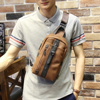 Korean-style Crazy Horse leather New style chest pack men's bag (PARK'S warna)