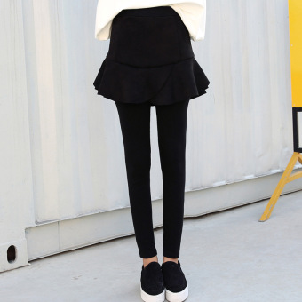 Korean-style fake two-piece slimming pants skirt leggings (M-703 # model hitam 100 no.)