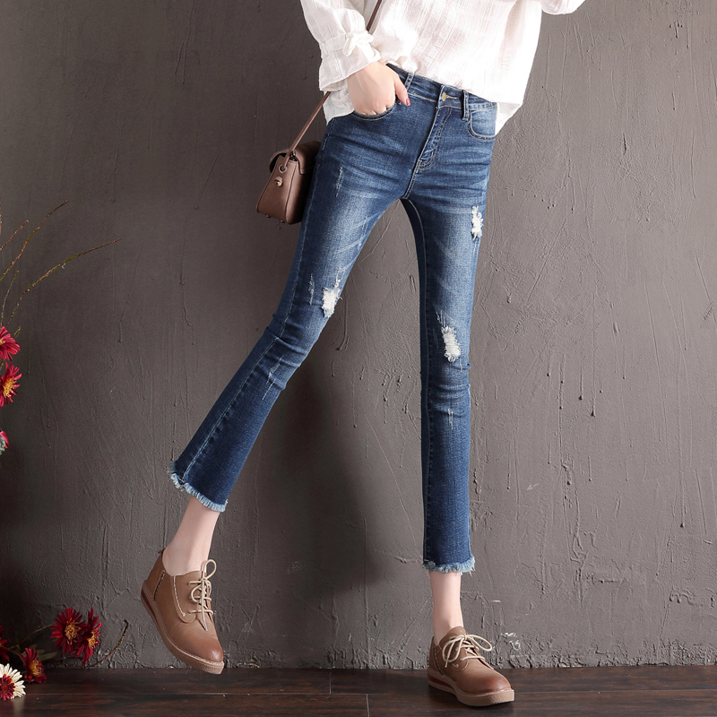 Flash Sale Korean-style female autumn New style ankle-length pants jeans (Biru tua burr model)