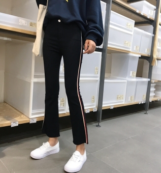 Korean-style high-waisted stretch Slim fit casual pants (Hitam)