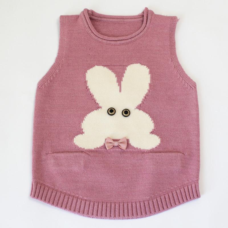 Flash Sale Korean-style knitted female small children's vest baby vest (Pucat merah muda