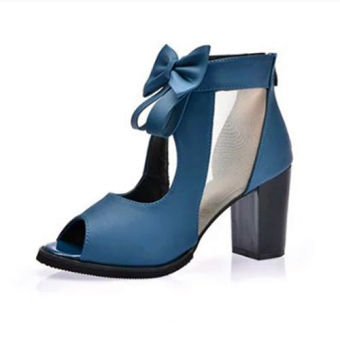 Korean-style mesh Cooljie open-toed shoes thick with high-heeled shoes (