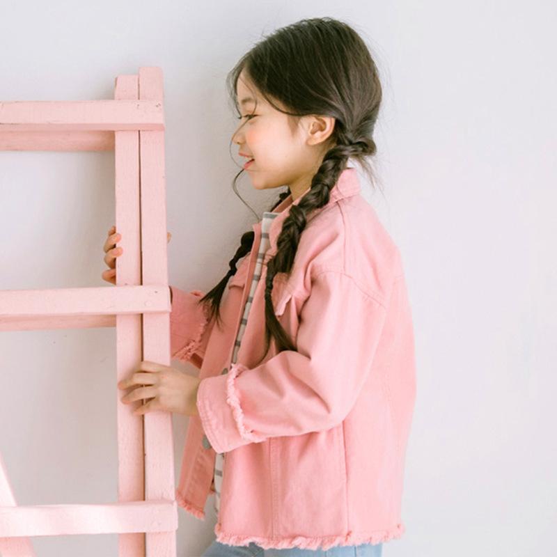 Korean-style New style children's Fold-down collar jacket girls jacket ( Merah muda