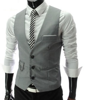 Korean-style Spring and Autumn thin small vest men's suit vest (Abu-abu)