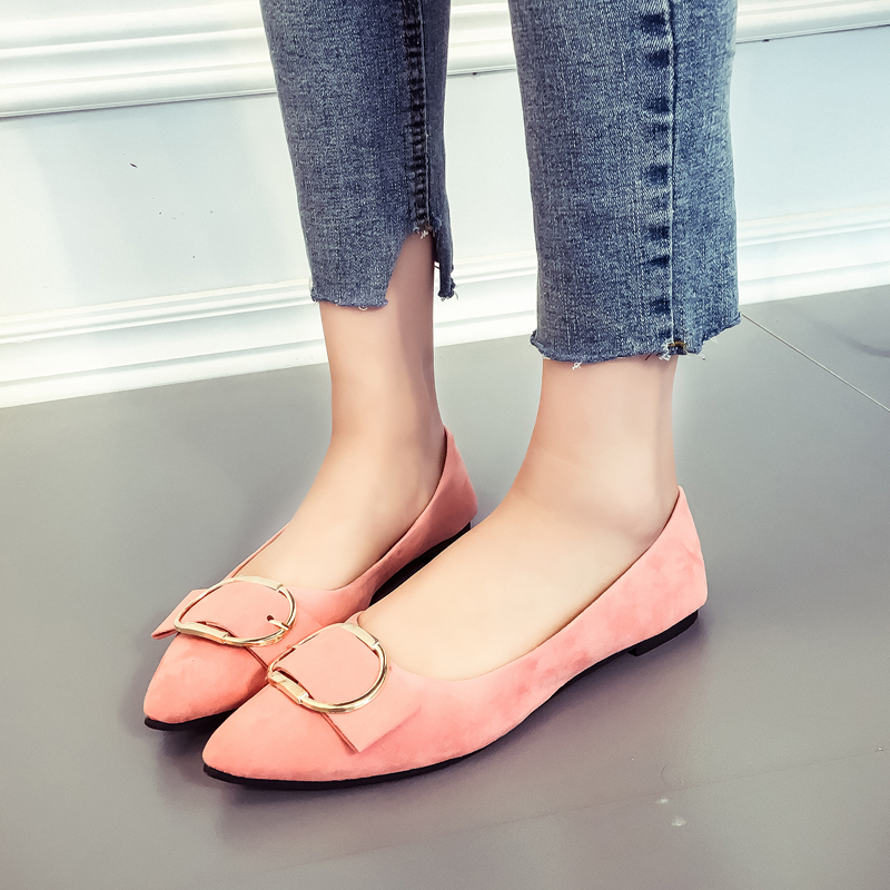 Korean-style spring and summer New style moccosins pointed flat shoes (Merah muda)