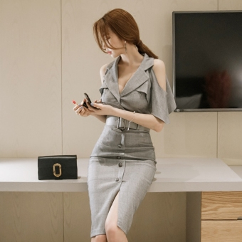 Korean-style spring and summer New style off-the-shoulder dress (Abu-abu)