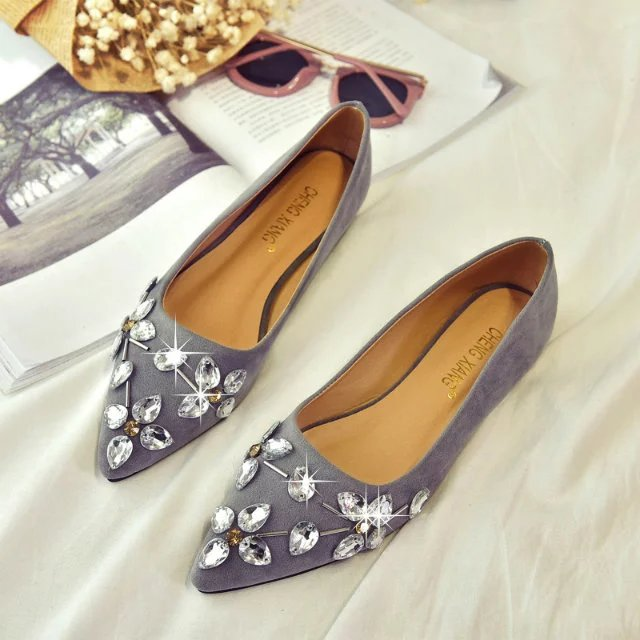 Korean-style suede female Spring and Autumn pointed flat shoes Shoes (Abu-abu