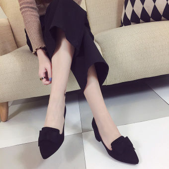 Korean-style suede gray spring and autumn thick with shoes (Hitam)