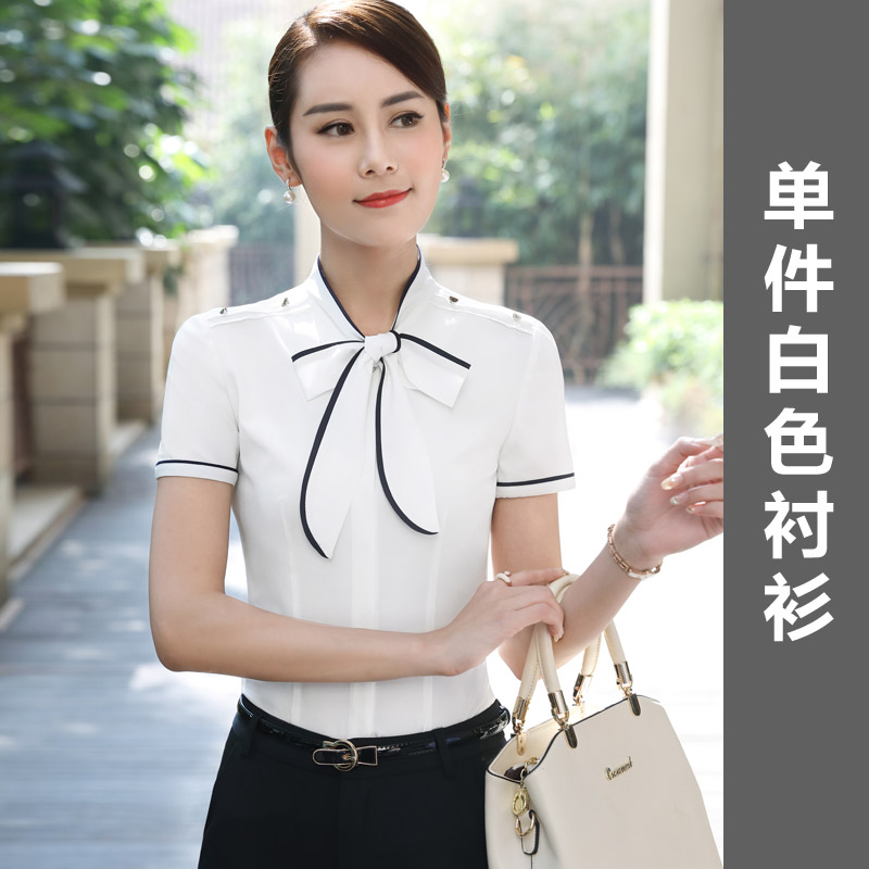Korean women's short sleeved Cooljie Slim fit versatile shirt white shirt ( Putih)