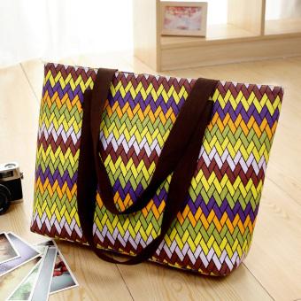 Kotak-kotak kasual besar tas tas kanvas (Warna tenun)