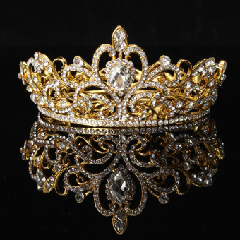 harga Kristal berlian imitasi Raja mahkota Tiara pernikahan arak-arakan pengantin Diamante kesemarakan keemasan - Internasional Lazada.co.id
