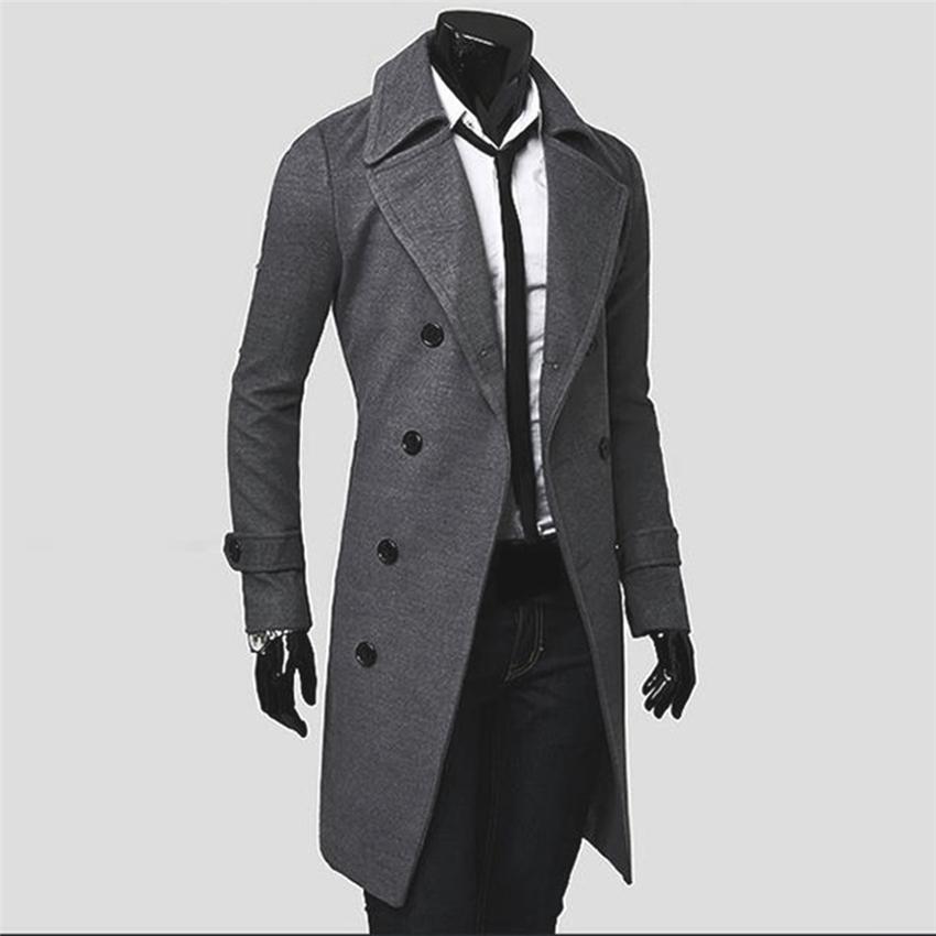 Kualitas besar Fashion pria model double-breasted wol menengahpanjang mantel jaket musim .