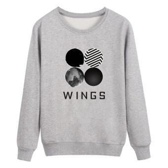Kuhong Kpop Korean Fashion BTS Bangtan Boys 2ND Album WINGS Hoodies Pakaian Sweatshirt Grey