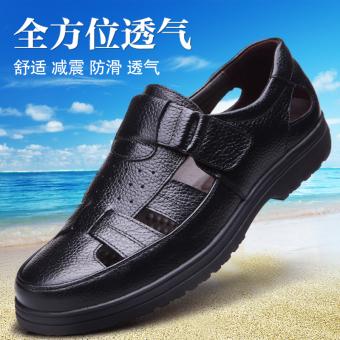 Kulit Tergelincir Putaran Sandal Kulit Setengah Baya Sepatu Ayah (Hitam) (Hitam)