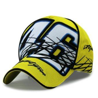 Kuning moto gp pembalap sepeda motor Rossi 46 baseball topi hip hoptopi golf snapback ukuran besar (kuning) - International