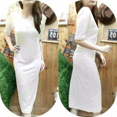 kyoko fashion dress v neck panjang -(putih)
