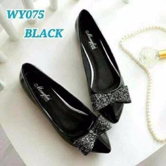 Labelledesign Sepatu Wanita Gliter Pita HITAM