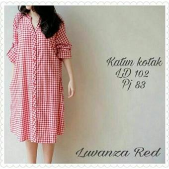 Ladies Fashion LARIS Kemeja Tunik Wanita Kotak Muslim Vanza / Baju terusan / Long Hem /