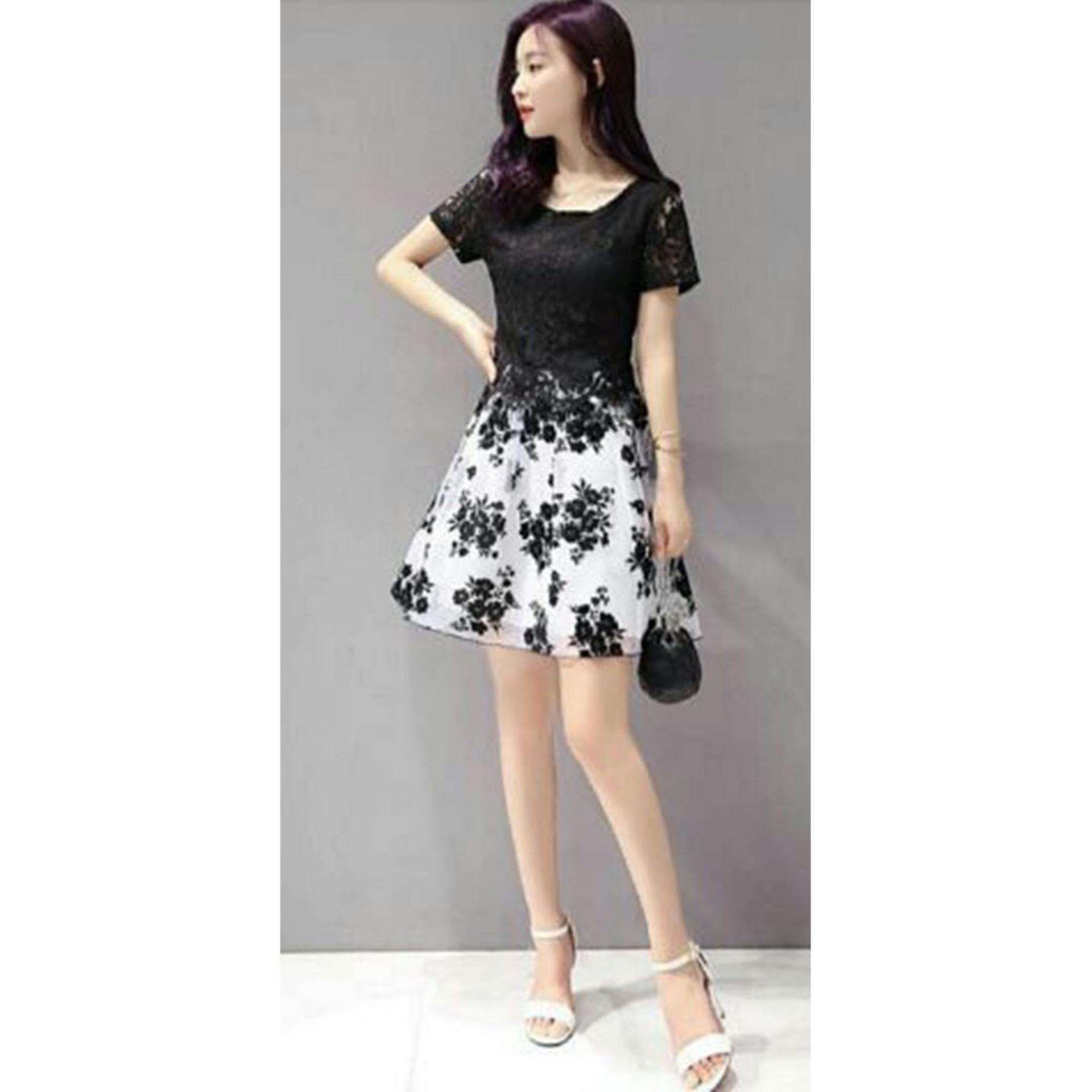 Flash Sale Ladies Fashion Mini Dress Lengan Pendek Bunga/ Dress Kerja Formal / Dress Santai