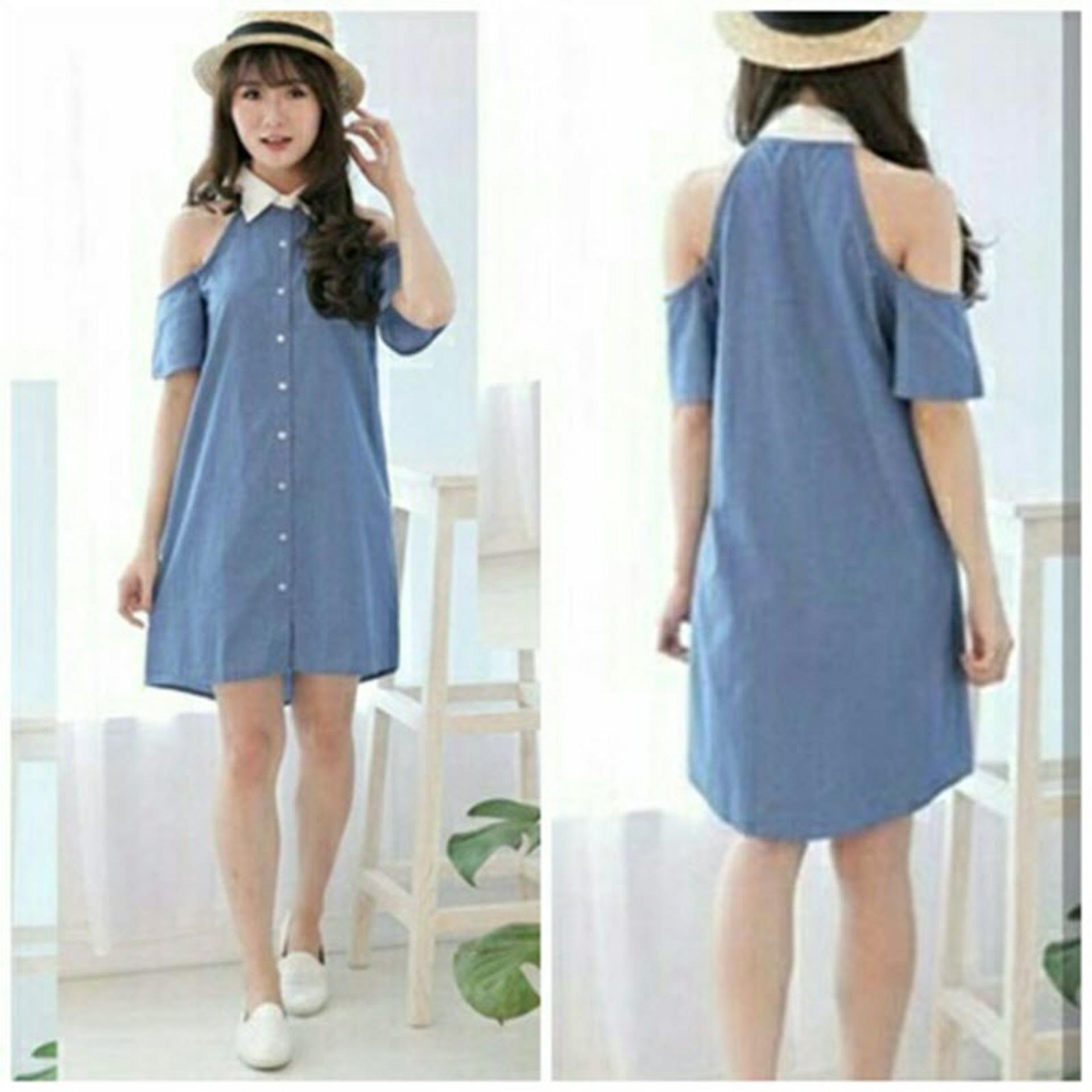 Flash Sale Ladies Fashion Mini Dress Wanita / Kaos Terusan Denim / Kaos Formal Kasual Santai