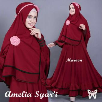 Ladies Fashion Set Muslim Amel / Gamis Syari Syar'i Fashion Maxi / Syari Simple Elegant / Baju Muslim 2 in 1 Busui (eliam) SS - Maroon - korea