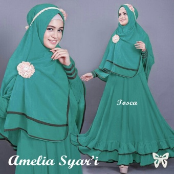 Ladies Fashion Set Muslim Amel / Gamis Syari Syar'i Fashion Maxi / Syari Simple Elegant / Baju Muslim 2 in 1 Busui (eliam) SS - Tosca - korea