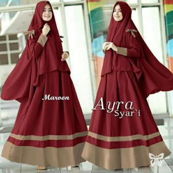Ladies Fashion Set Muslim Meyri / Gamis Syari Syar'i Fashion Maxi / Dress Maxi / Gaun Muslimah / Baju Muslim 2 in 1 (raay arisy) SS - Maroon - korea