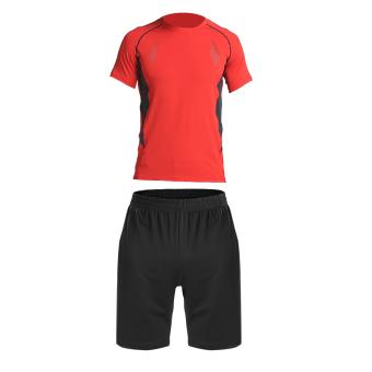 Harga Laki-laki baru lengan pendek cepat kering pelatihan pakaian kebugaran  pakaian (6188C merah dua potong) 510e2cee21