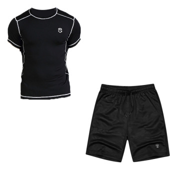 Laki-laki cepat kering pakaian pria lengan pendek berjalan pakaian (501 hitam lengan pendek + Hyun black kamuflase celana pendek)