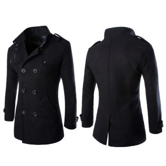 Laki-Laki Yang Mengenakan Mantel Berkancing Ganda Hitam - 3 .