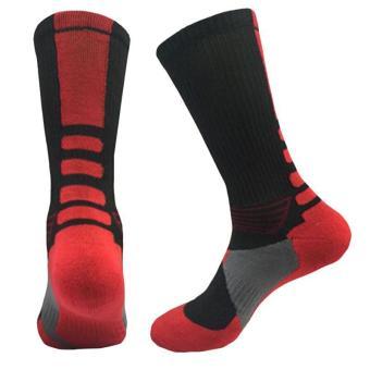LALANG Laki-Laki Kaus Kaki Olahraga Bola Basket Profesional EliteKaus Kaki Olahraga Luar Ruangan Hitam & Merah