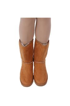 LALANG sepatu boots salju sol karet musim dingin hangat wanita cantik kasual flat - unta - 2