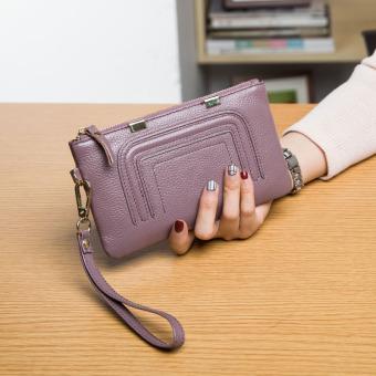 Lapisan pertama dari kulit baru dompet clutch tas (Talas ungu)