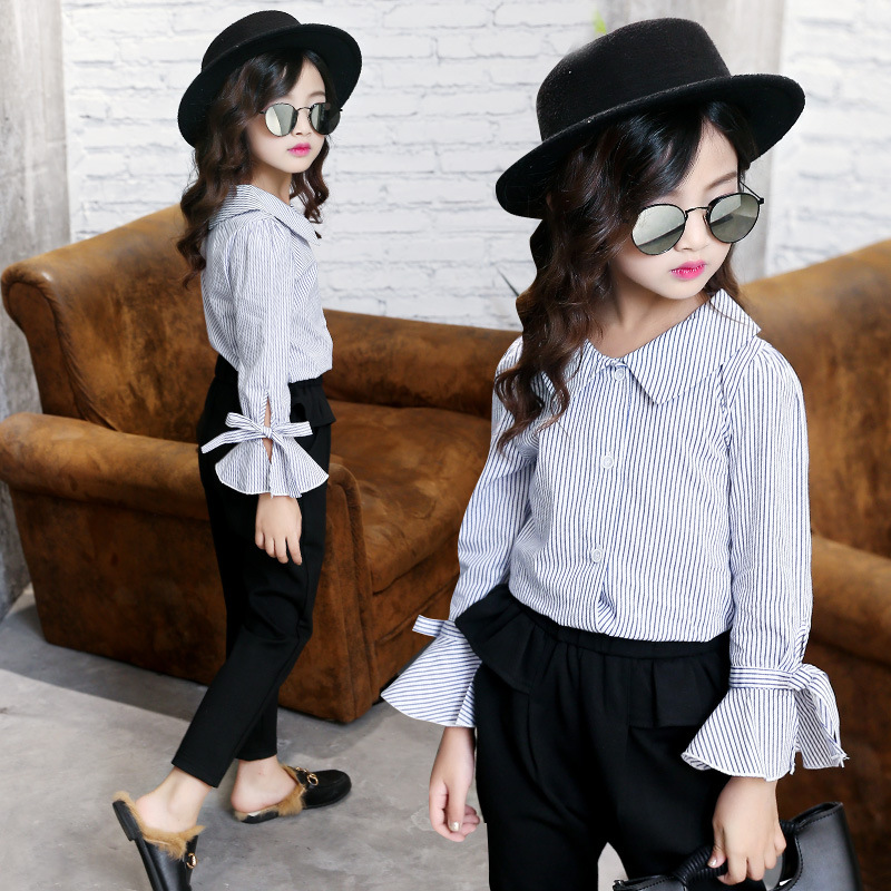 Large girls Spring and Autumn New style Korean-style casual Top striped shirt (Warna