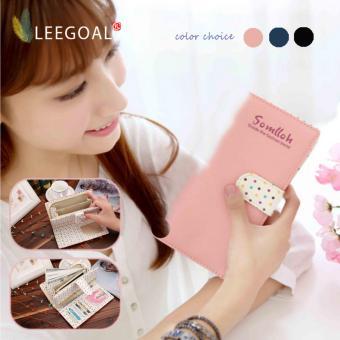 Leegoal dirancang indah wanita pemegang kartu PU ritsleting tas telepon tas dompet kulit, berwarna merah