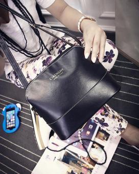leegoal wanita kulit PU tas bahu tas kurir kasual hitam - ?