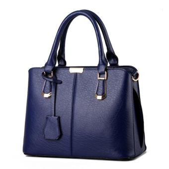 leegoal Womens Boutique PU Leather Shoulder Bags Top-Handle Handbag Tote Purse Bag Royalblue - intl